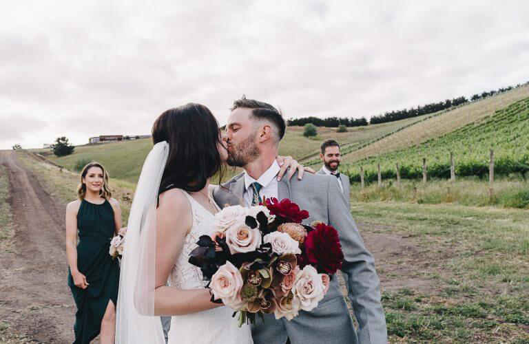 Steph & Fraser's colourful winery wedding at Clyde Park, Bannockburn