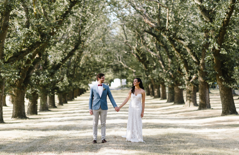 Sharni and Morgan's romantic garden wedding at Yering Station Winery, Yarra Valley